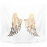 Gold Sequin Print Angel Wings Boho Wall Tapestry