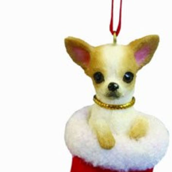 "Chihuahua Christmas Stocking Ornament with ""Santa's Little Pals"" Hand Painted and Stitched Detail"
