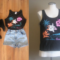 vintage HAWAII Novelty Tank Top / vintage 80s Graphic Tee / Neon Floral Print