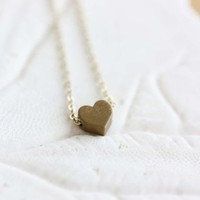 Tiny Brass Heart Necklace