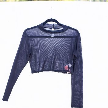 Stop Meshing Around Long Sleeve Crop Top
