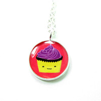 Cupcake Necklace - Pink Purple Kawa.. on Luulla