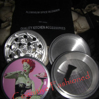 Redhead Zombie Pin Up Girl 4 Piece Grinder Herb Spice Aircraft Grade Aluminum C.N.C from Cognitive Fashioned