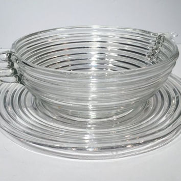 Manhattan Art Deco Crystal Depression Glass Closed Handle Bowl Serving Plate, Vintage Anchor Hocking Clear Horizontal Ribbed Large Plate