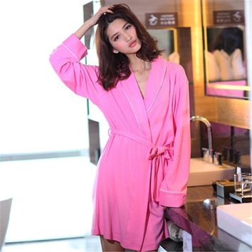 Knitted Women Robes Sexy Bathrobe Women Peignoir Long Sleeve Dressing Gown for Women Spring Autumn