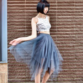 Grey tulle full midi skirt