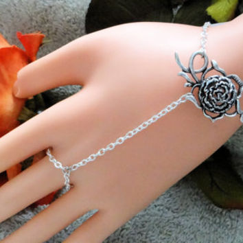 Slave Bracelet, Rose , Hand Chain, Infinity Ring, Hand Harness, Hand Jewelry,  Silver, Body Chain, Hand Art