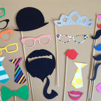 Photo Props Party Pack PHOTOBOOTH PROPS Wedding Photo Booth Props Set of 23 Party Decorations Party Supplies Mustache on a Stick