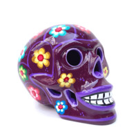 This is a super cool sugar skull home decor products are a great way to brighten your home or office with the handcraft large pottery flower sugar skull. Whether you're into the Day of the Dead or just like the vibrant designs, there's something here for e