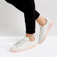 adidas Originals Campus Sneaker In Pale Gray With Pink Sole at asos.com