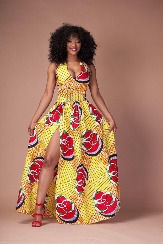 1000 Images About African Print 2 Piece Outfit On: Yellow African Print Halter Front Slit From Global Styles