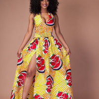 Yellow African Print Halter Front Slit Maxi Dress
