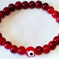 Unisex Red Beads Evil Eye Bracelet - Red Evil Eye Beads - Evil  EyeJewelry -  Hand Accessories - Gift for mom