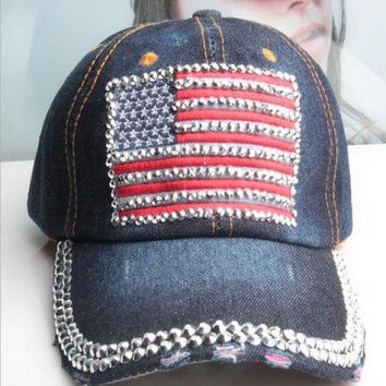 Chic Rhinestones American Flag Shape Patch Embellished Baseball Cap For Women