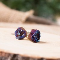 Peacock Druzy Stud Earrings