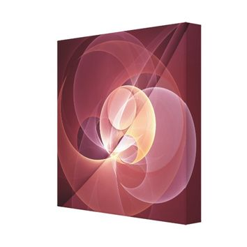 Movement Abstract Modern Wine Red Pink Fractal Art Canvas Print