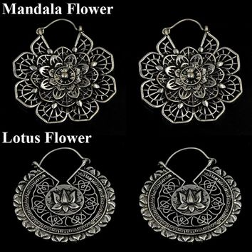 New Women Fashion Antique Style silver Tone Gypsy Indian Tribal Ethnic Hoop Dangle Earrings Boho