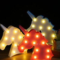 Cute 3D Led Night Light Bedroom Unicorn Marquee Lamps