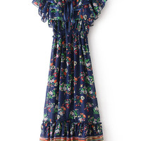 Royal Blue Off-shoulder Floral Ruffled A-Line Mini Dress With Cape