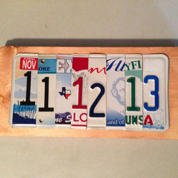 Custom Wedding Photo Prop made from recycled License Plates Save the Date Sign