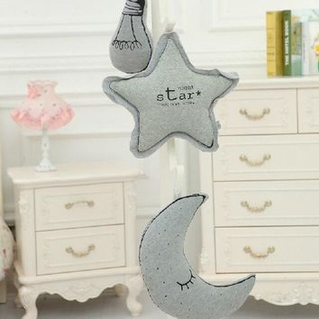 Hot Sale Stuffed Plush Glow In The Dark Moon Star Bulb Cushion Pillow Kawaii Toys Nordic Kids Bed Room Decor Photo Props