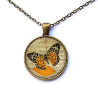 Insect jewelry Butterfly necklace Antique French pendant CWAO36-1