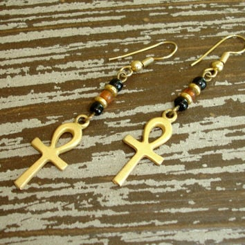 Vintage Egyptian Gold Ankh Cross Earrings, Beaded Dangle Earrings, Key of Life Symbol, Estate Costume Jewelry