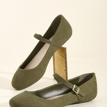 Classy in a Flash Flat in Olive | Mod Retro Vintage Flats | ModCloth.com