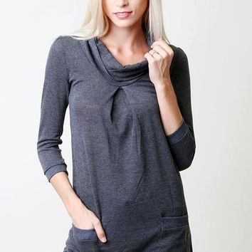 Tunic Top with pockets - Charcoal