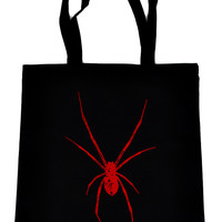 Black Widow Spider Tote Book Bag Red Print Gothic Horror Handbag