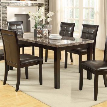 Poundex F2295-1354 7 pc marleen collection dark brown finish wood marble top dining table set with padded seats