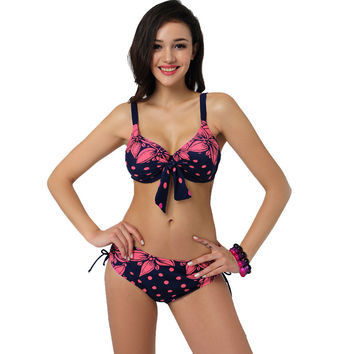 2017 Latest Plus Size Bikini Swimwear Women Sexy Beach Low Waist Vintage Girls Party Swimsuit Floral Center Bow Print Bikinis