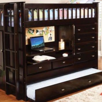 Twin Loft Bed with Storage, Desk, Dresser, Trundle in One!