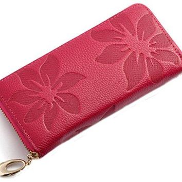 iSuperb Women Leather Wallet Wristlet Clutch Classy Floral Zipper Large Capacity Handbag Wallet Purse for Card Credit Change 75x35 x1 inches
