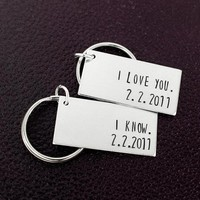 I Love You I Know Keychains - Personalized Keychains - Anniversary Gifts - Girlfriend Gift - Long Distance Relationship - Gift For Men