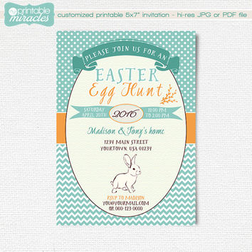 Easter invitation, Egg hunt invites, Printable easter party invitation card, Easter brunch - pastel colors, customized, digital invite