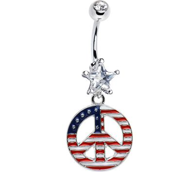 Patriotic Peace Sign Belly Ring