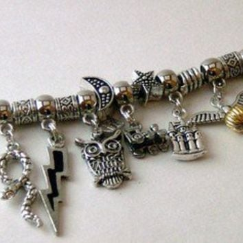 Harry Potter pandora style charm bracelet by ang549 on Etsy