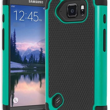 Samsung Galaxy S6 Active Hybrid Dual Layer  Black & Teal Shock Case