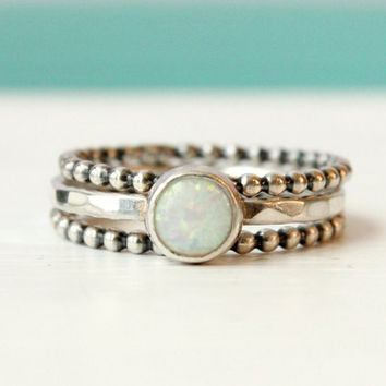 Opal ring set of 3 rings, stacking rings, ring stack, 6 mm white lab opal hammered ring, 2 beaded rings, October birthstone, silver rings