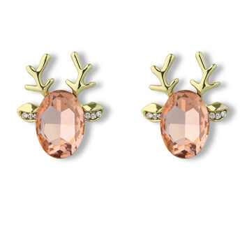 Deer Beads Earrings Pink