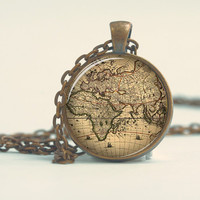 Pendant with Chain - World vintage map