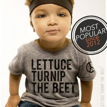 lettuce turnip the beet ® trademark brand OFFICIAL SITE - heather grey track shirt with classic logo - funny music dance foodie kid t shirt
