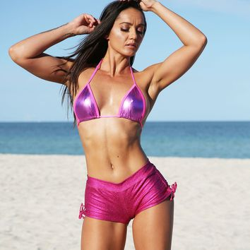 Hot Pink Metallic Denim Tie Side Cheeky Shorts