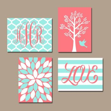 CORAL Aqua Nursery Wall Art, Baby Girl Nursery Decor, Girl Tree Bird Art, Girl Monogram, Girl Bedroom Wall Decor, CANVAS or Print, Set of 4
