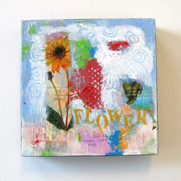 Floral Mixed Media Acrylic Painting on canvas, Art, Drawing