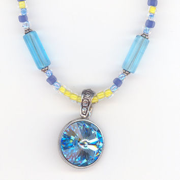 Aquamarine Crystal Pendant with Yellow and Blue Necklace by Lehane