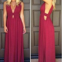 Sexy A-Line Red Simple Chiffon Prom Dresses