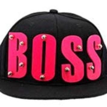 Snapback Black Hip Hop Cap Hat Acrylic BOSS 3D HOT PINK  Letters Rivet  Bolted