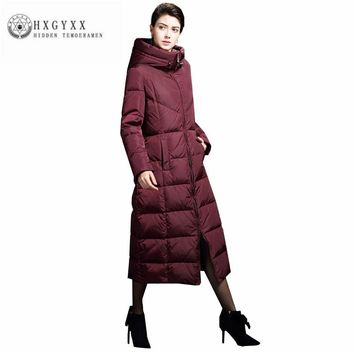 Long Winter Jacket Women 2017 Plus Size Thick Warm Hooded Coat Female White Duck Down Jackets Loose Goose Feather Parka Oka742